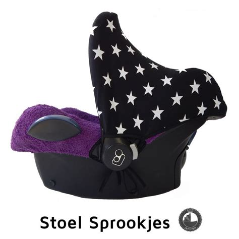zonnekap ster zwart met maxi cosi hoes badstof paars car seat cover infant baby housse bezug