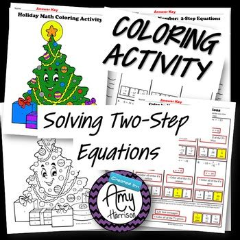 Holiday Math Color By Number Solving Twostep Equations Tpt
