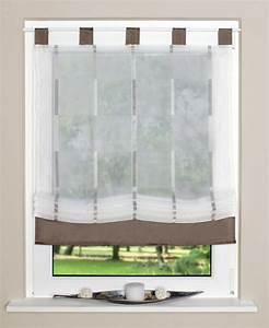 Raffrollo 40 Cm : raffrollo rollo schlaufen wei transparent mit braunen streifen 100x140cm gardinen ~ Markanthonyermac.com Haus und Dekorationen
