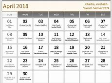 April 2018 hindu calendar with tithi for Chaitra Vaishakh