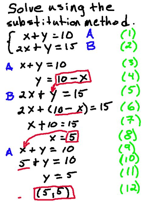 Solve A System Of Equations With Substitution Method  Algebra And Geometry Help