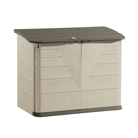 shop rubbermaid olive sandstone resin outdoor storage shed common 60 inx 32 in interior