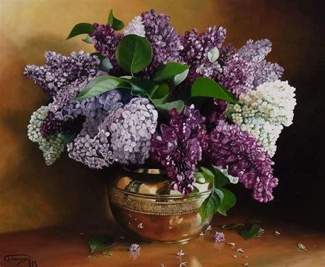 lilas dans pot en cuivre photo de fleurs et nature morte couleurs de toiles