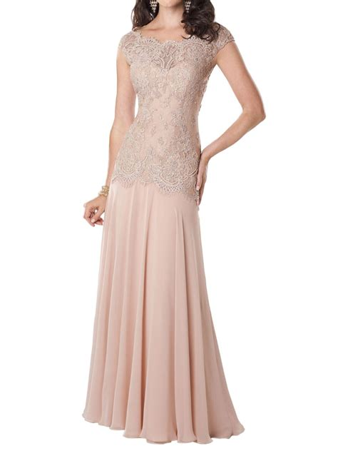 Boat Neck Mother Of The Groom Dress by Blush Cap Sleeve Boat Neck Lace Bodice Floor Length A Line