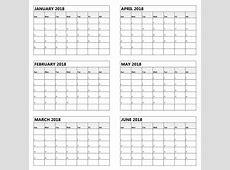 Get Free Printable 2019 6 Month Calendar Template Download