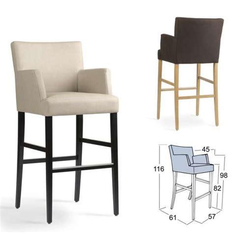 tabouret de bar avec accoudoirs en bois et tissu shawn mobitec 174 4 pieds tables chaises et