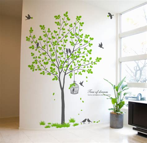 72 quot large tree wall decals removable birds cage vinyl home decor stickers ebay