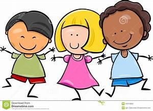 Multicultural Children Cartoon Illustration Stock Vector ...