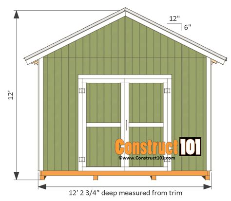 12x12 shed plans gable shed pdf construct101