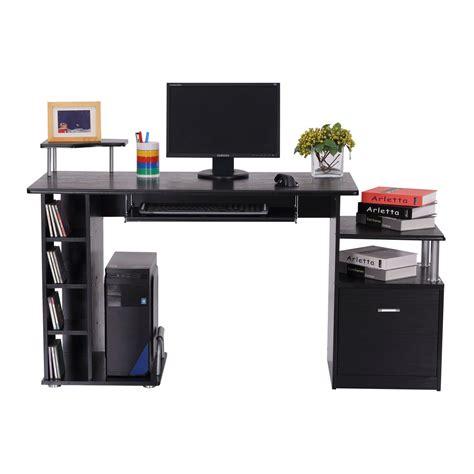 homcom bureau pour ordinateur table meuble pc informatique en mdf noir aosom fr aosom fr