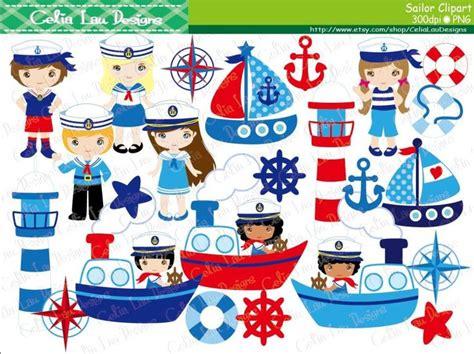 Cartoon Boat Characters by Sailor Clipart Sailing Boat Clipart Nautical Clip Art