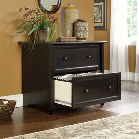 sauder edge water collection laminated 2 drawer lateral file cabinet in estate black 409044