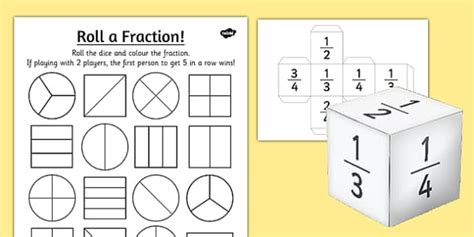 Year 2 Roll A Fraction Worksheet  Activity Sheet Activities