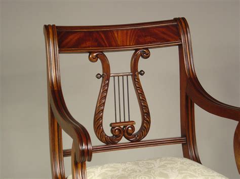 lyre back dining room chairs harp solid mahogany decobizz