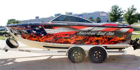 Red Boat Vinyl Wrap by American Flag Vinyl Boat Wrap Zilla Wraps