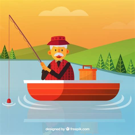 Cartoon Man In A Boat by Old Man Fishing In A Boat Background Vector Free Download