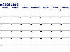 March 2019 Blank Calendar Free Printable Calendar 2019