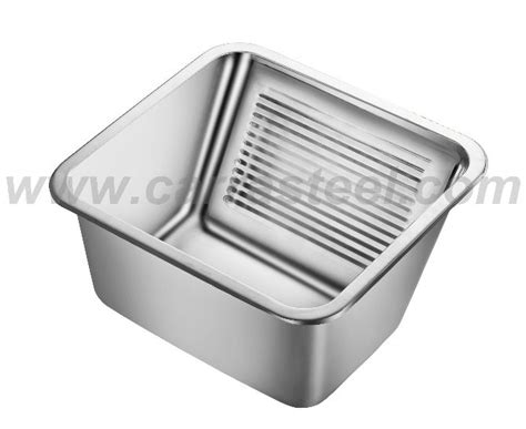 stainless steel laundry sink with washboard design inside