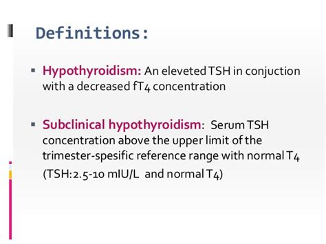subclinical hypothyroidism in pregnancy