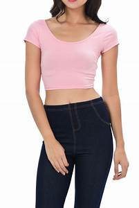 New Womens Trendy Solid Color Basic Cropped Top Croptop ...
