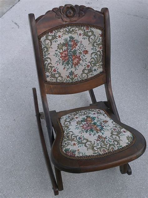 vintage folding rocking chair wood sewing nursing rocker