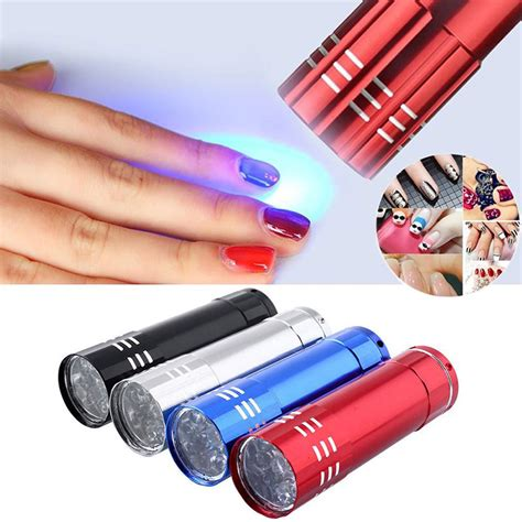 lke 1pc mini 9 led uv gel curing l without battery portability nail dryer led flashlight