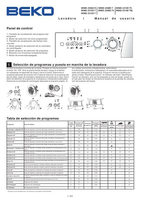 beko wmd 25120 t t 233 l 233 charger pdf mode d emploi espagnol