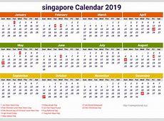 Blank School Holidays Calendar 2019 Singapore Template