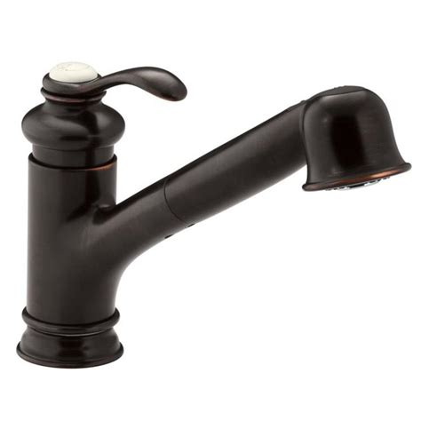 shop kohler purist rubbed bronze 1 handle pull out kitchen faucet at lowes