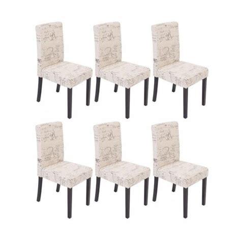 lot de 6 chaises de salle 224 manger en tissu cr 232 me imprim 233 pieds fonc 233 s cds04230 achat vente