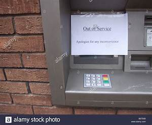 bank atm teller damaged cash machine with out of order ...