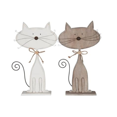 chat d 233 co bois naturel blanc grand 35x21cm