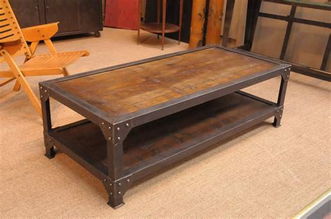 French Vintage Industrial Coffee Table with Old Iron Elements ? SOLD