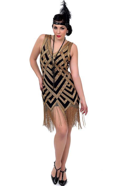 black gold deco beaded flapper dress deco shop