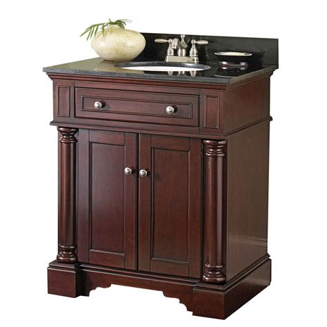 shop allen roth albain auburn undermount single sink bathroom vanity with granite top actual