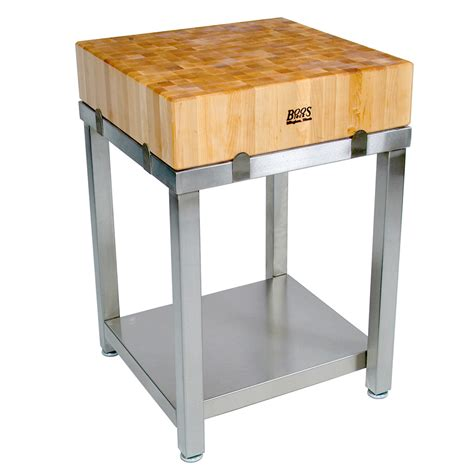 Stainless Steel Kitchen Table With Butcher Block Top