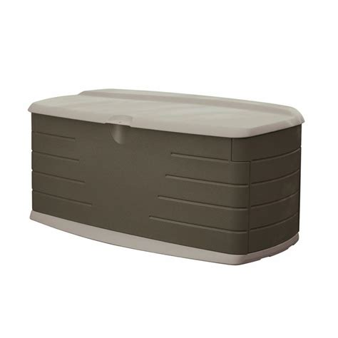 rubbermaid 90 gallon large deck box with seat fg5f2200olvss on popscreen