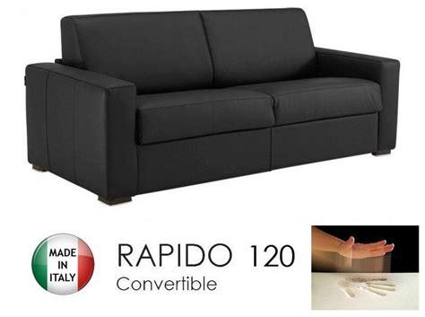canape convertible rapido 120cm dreamer cuir eco noir matelas 120 14 190 cm a memoire de forme