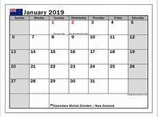 Calendar January 2019, New Zealand Michel Zbinden en