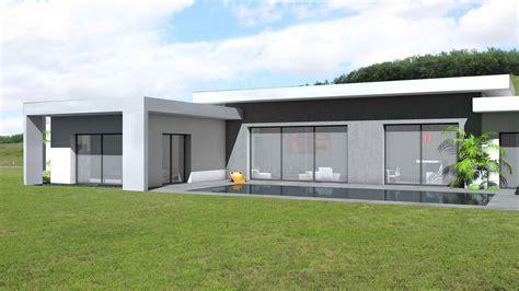 maison contemporaine toit plat plain pied maison moderne