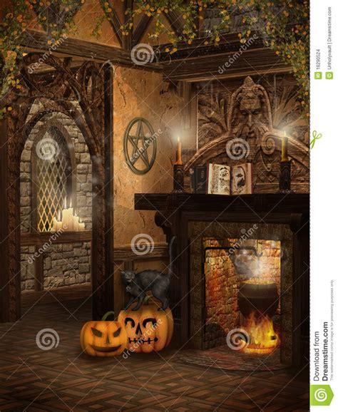 la maison de la sorci 232 re avec des potirons images stock