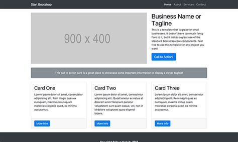 bootstrap bare template free bootstrap landing page themes start bootstrap