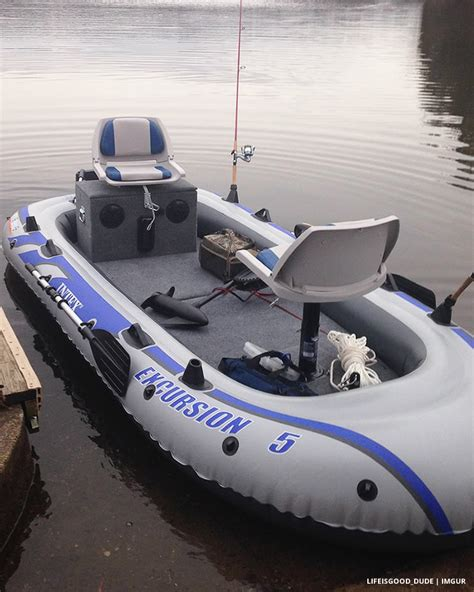 Inflatable Boat In Shop by Transform An Inflatable Raft Into A Practical Fishing Boat