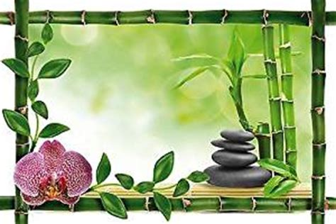 decorative wall sticker trompe l oeil bamboo zen pebbles bamboo ref 948 120x80cm co uk