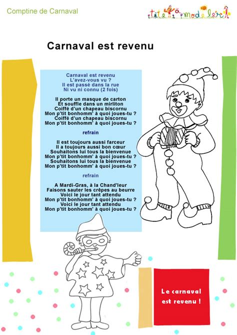 chanson quot carnaval est revenu quot paroles version 224 colorier t 234 te 224 modeler