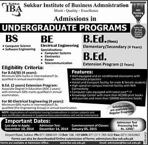 IBA Sukkur Undergraduate Programs Admission 2015 BS, B.Ed ...