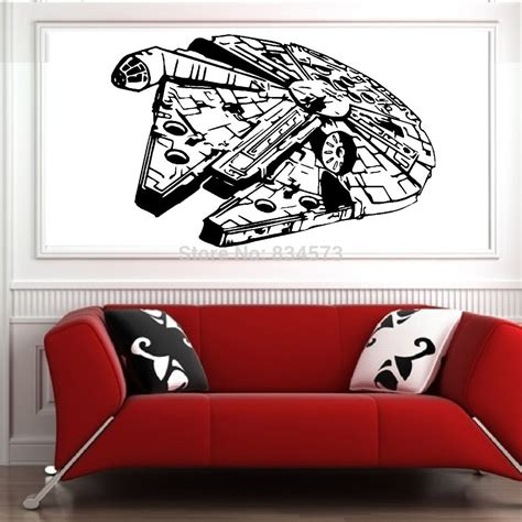 millenium falcon wars wall stickers decal diy home decoration wall mural removable
