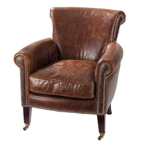 fauteuil en cuir marron effet vieilli cambridge maisons du monde