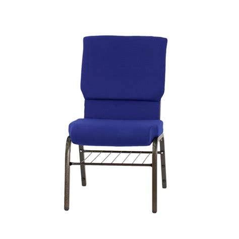 hercules series 18 5 w church chair in navy blue fabric with book rack gold vein frame xu ch