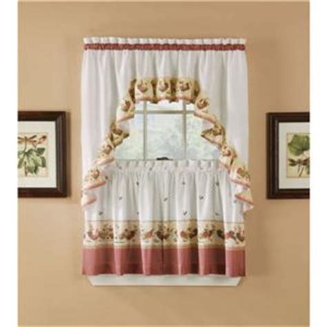 3 pc country rooster kitchen curtains tier and swag set